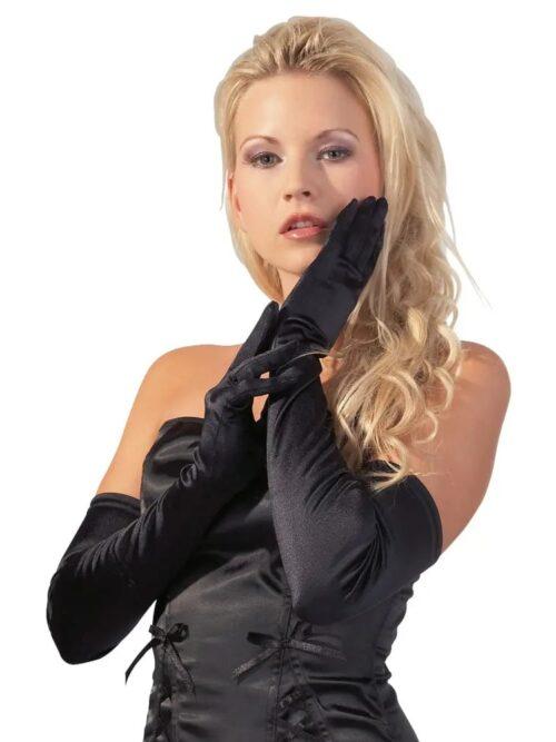 Cottelli Collection Satin Gloves - Extra duge rukavice
