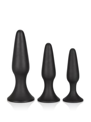 Anal Trainer Butt Plug Black - tri silikonska analna pluga