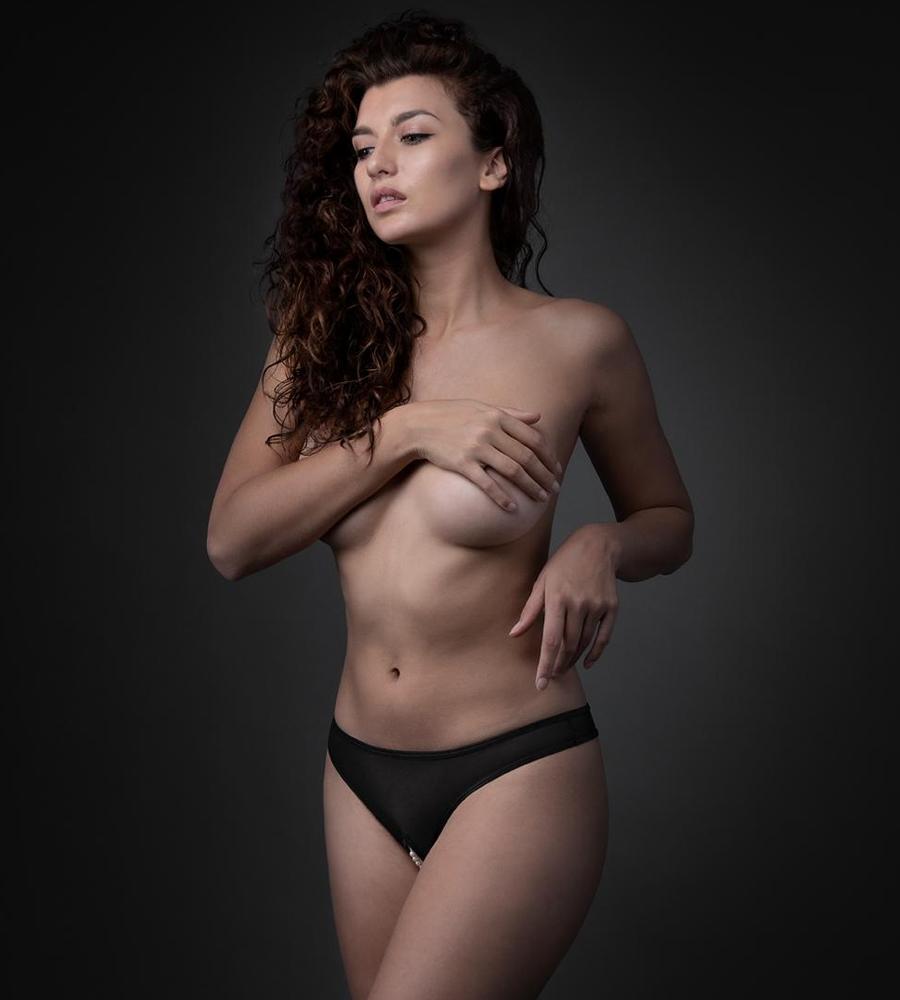 Underneath - Jade Crotchless Sheer Thong