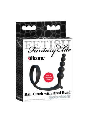 FF Ball Cinch with Anal Bead- prsten za testise s analnim kuglicama