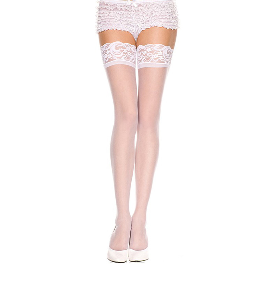 Music Legs 4110 White - samostojeće čarape
