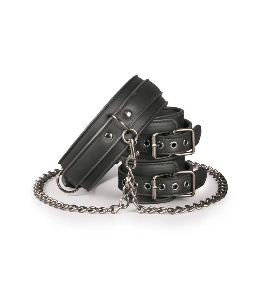 Easytoys Leather Collar With Handcuffs - ovratnik s lisicama