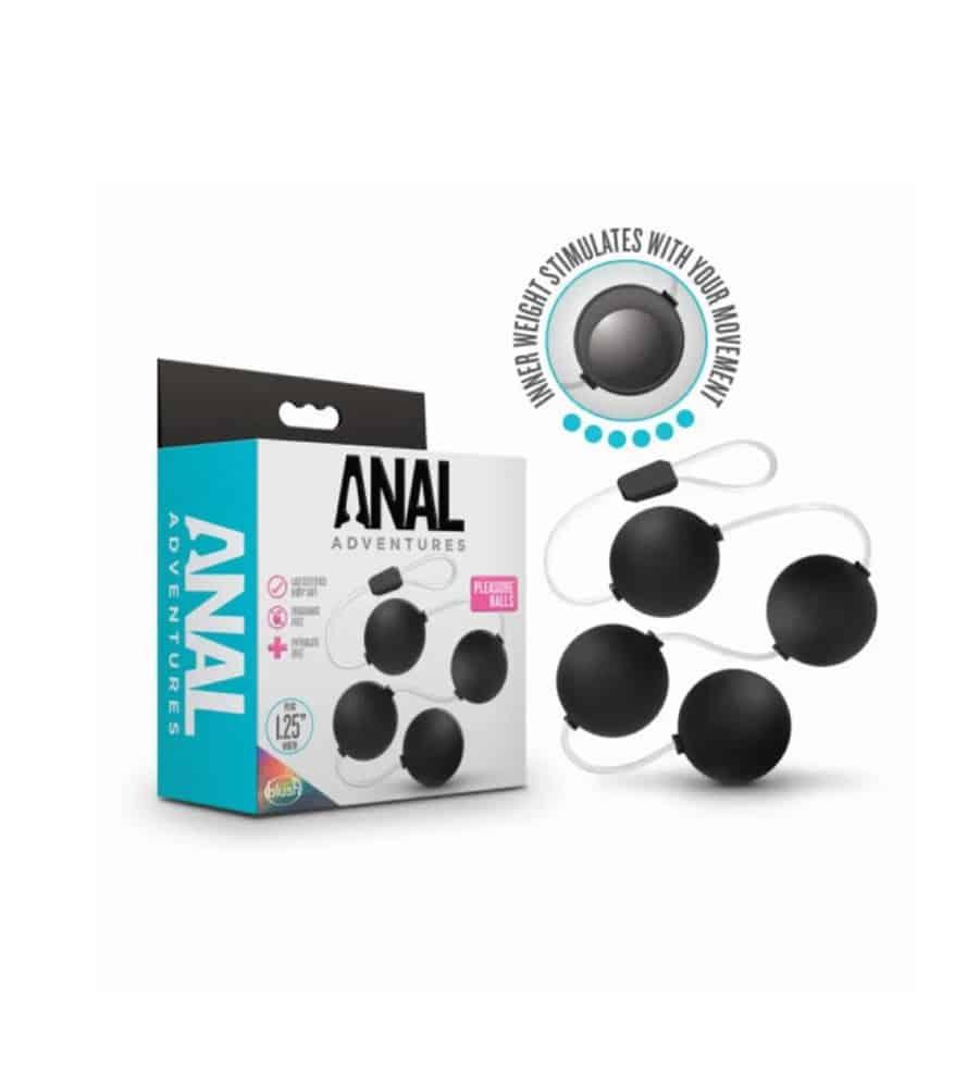 Anal Adventures Pleasure Balls Black - analne kuglice