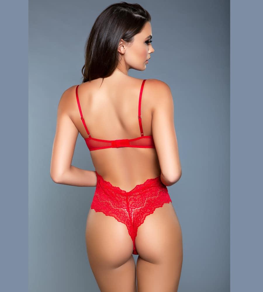 Be Wicked Ariella Red - crveni čipkasti body
