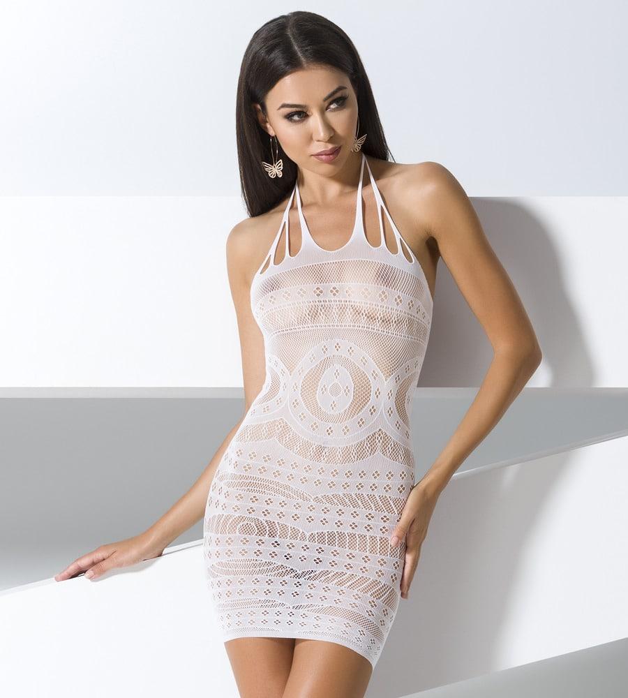 Passion BS063 - mrežasta haljinica, bijele boje