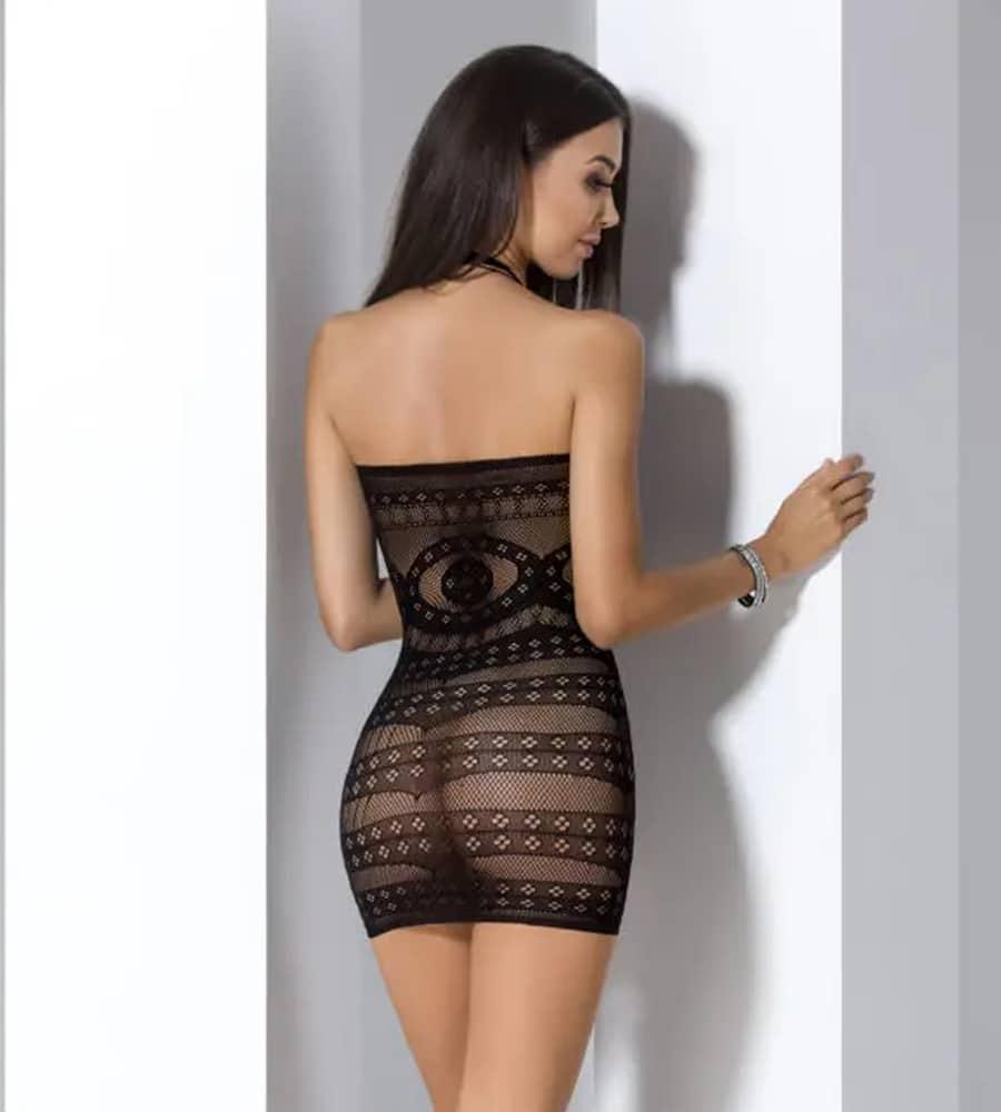 Passion BS063 - mrežasta haljinica, crne boje