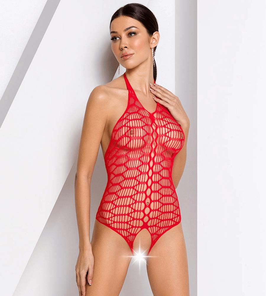 Passion BS087 - mrežasti body, crvene boje