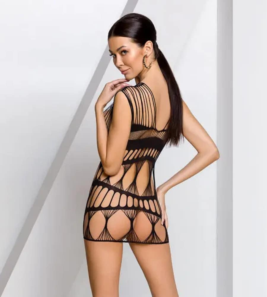 Passion BS089 - mrežasta haljinica, crne boje