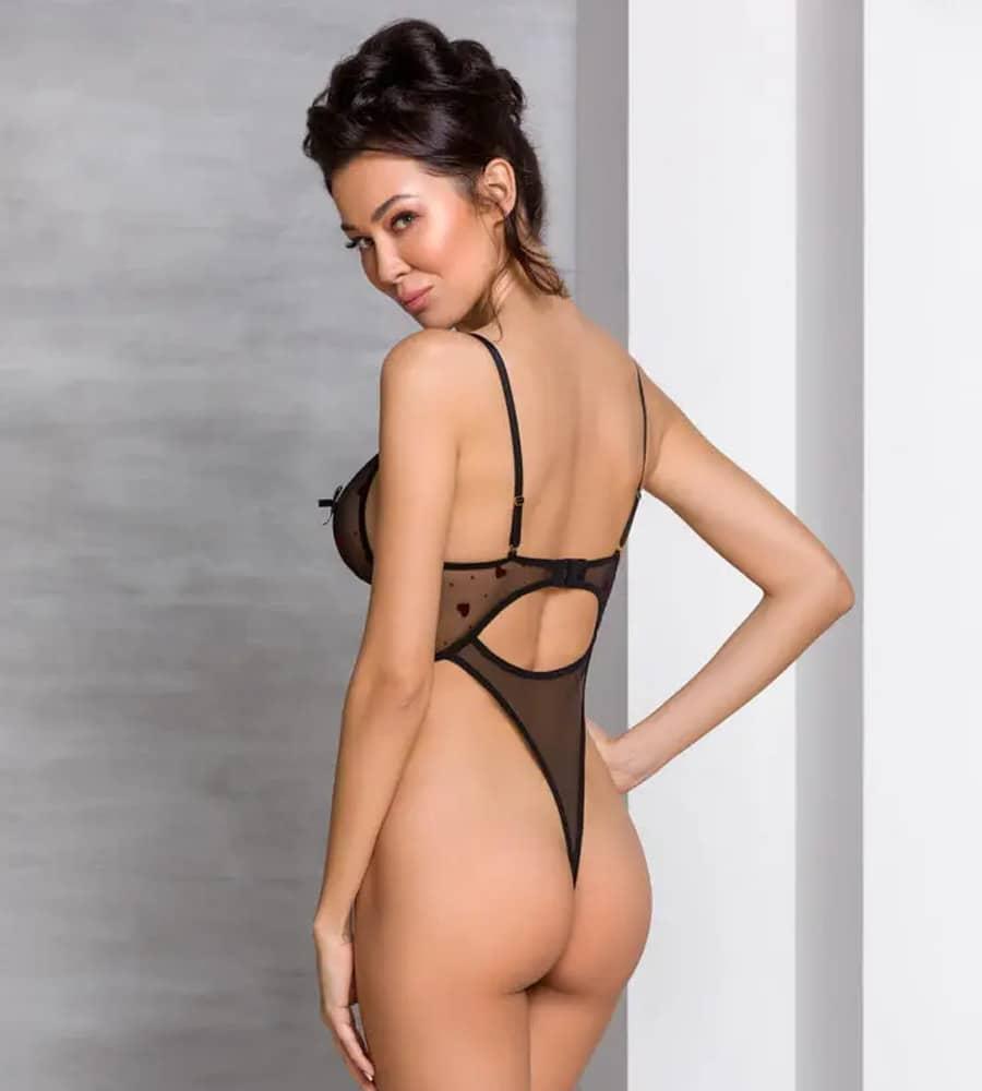 Passion Lovelia Body Black - providni body sa srcima