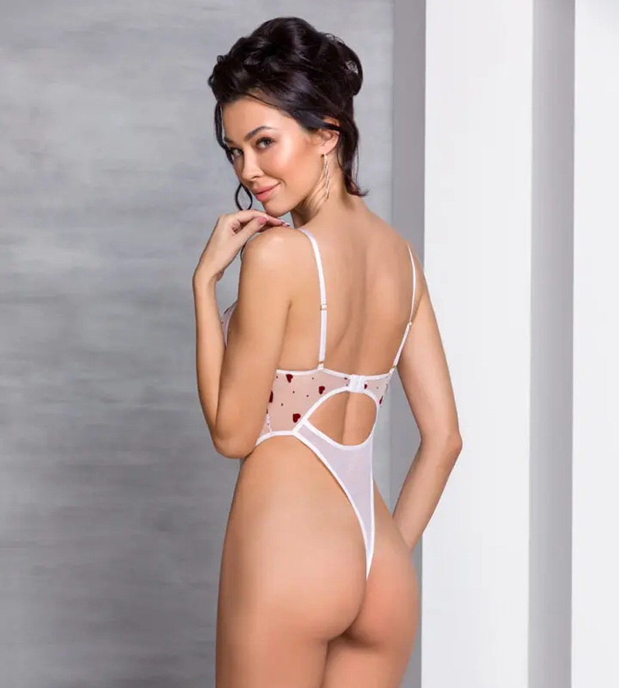 Passion Lovelia Body White - providni body sa srcima