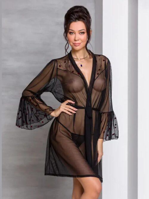 Passion Lovelia Kimono Black - providni ogrtač