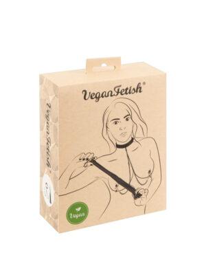 Vegan Fetish Set - ovratnik s kvačicama za bradavice i bič