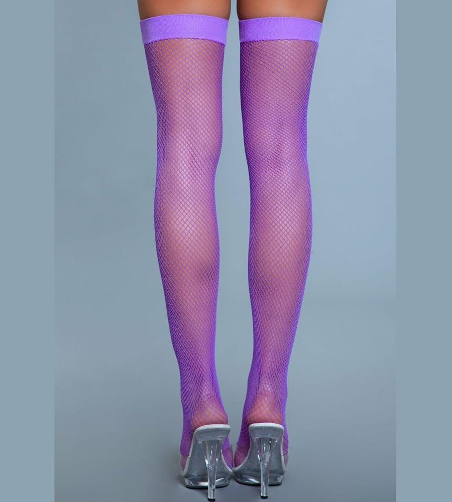 BeWicked Fishnet Thigh Highs - samostojeće čarape, neon ljubičasta