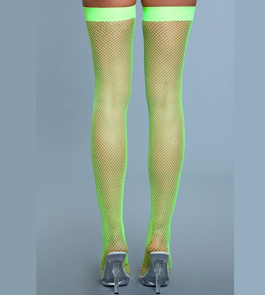 BeWicked Fishnet Thigh Highs - samostojeće čarape, neon zelena