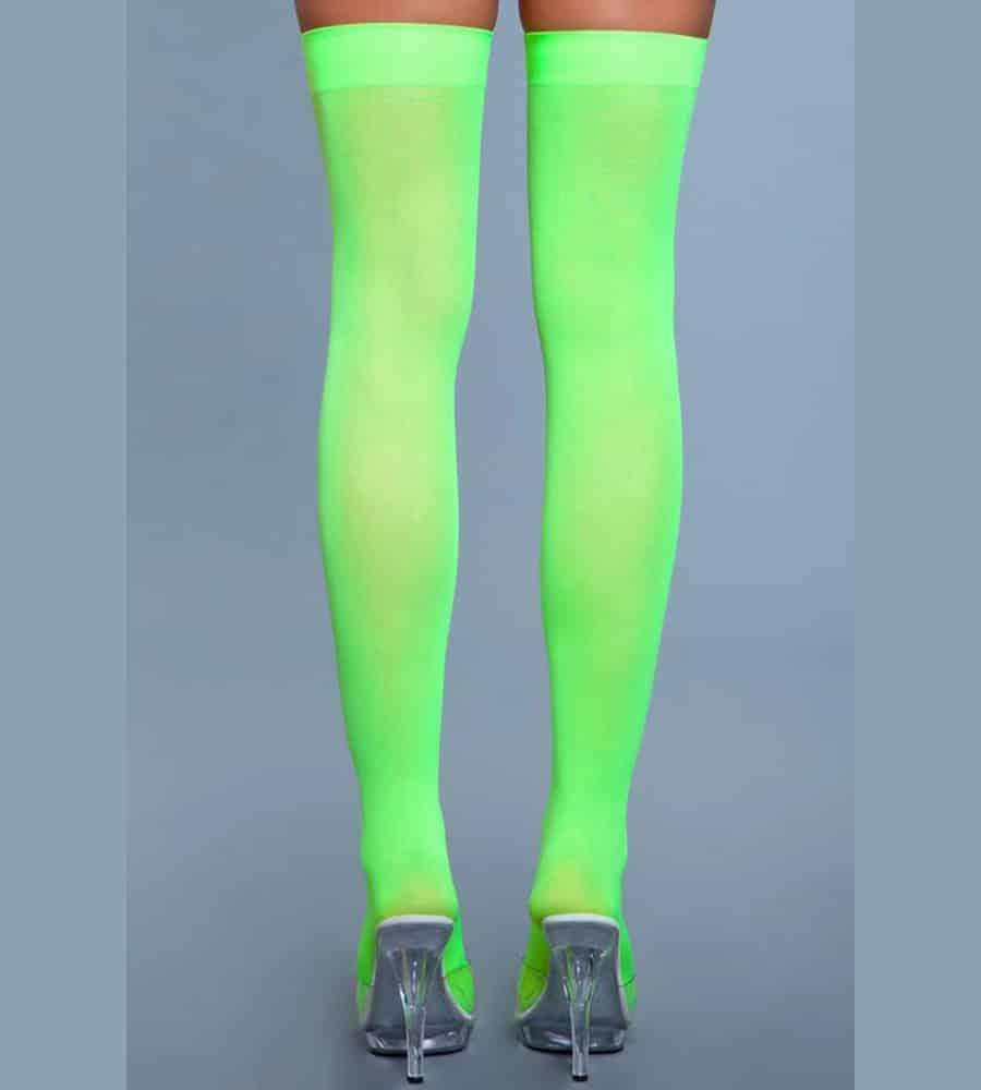 BeWicked Thigh High Stockings - samostojeće čarape, neon zelena